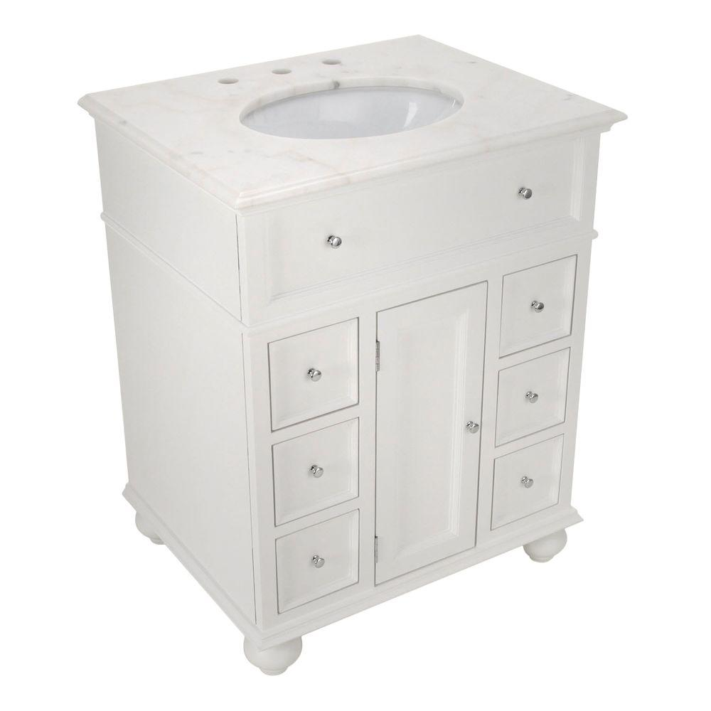 Home Decorators Collection Hampton Harbor 28 In W X 22 In D Bath Vanity In White With Natural