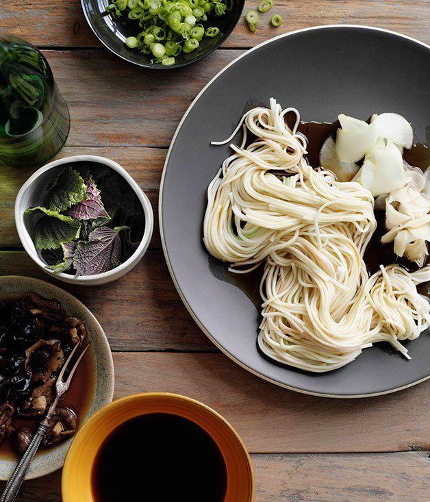 Hiyamugi noodles with Japanese pickles