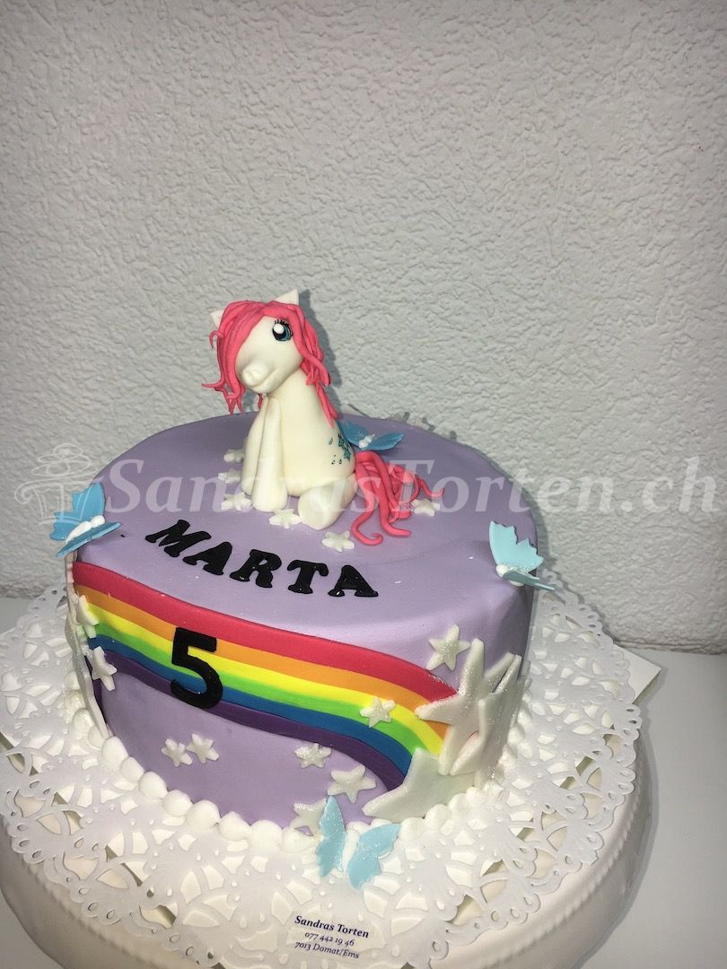 Pony Schmetterling Und Regaboga Happy Birthday Marta