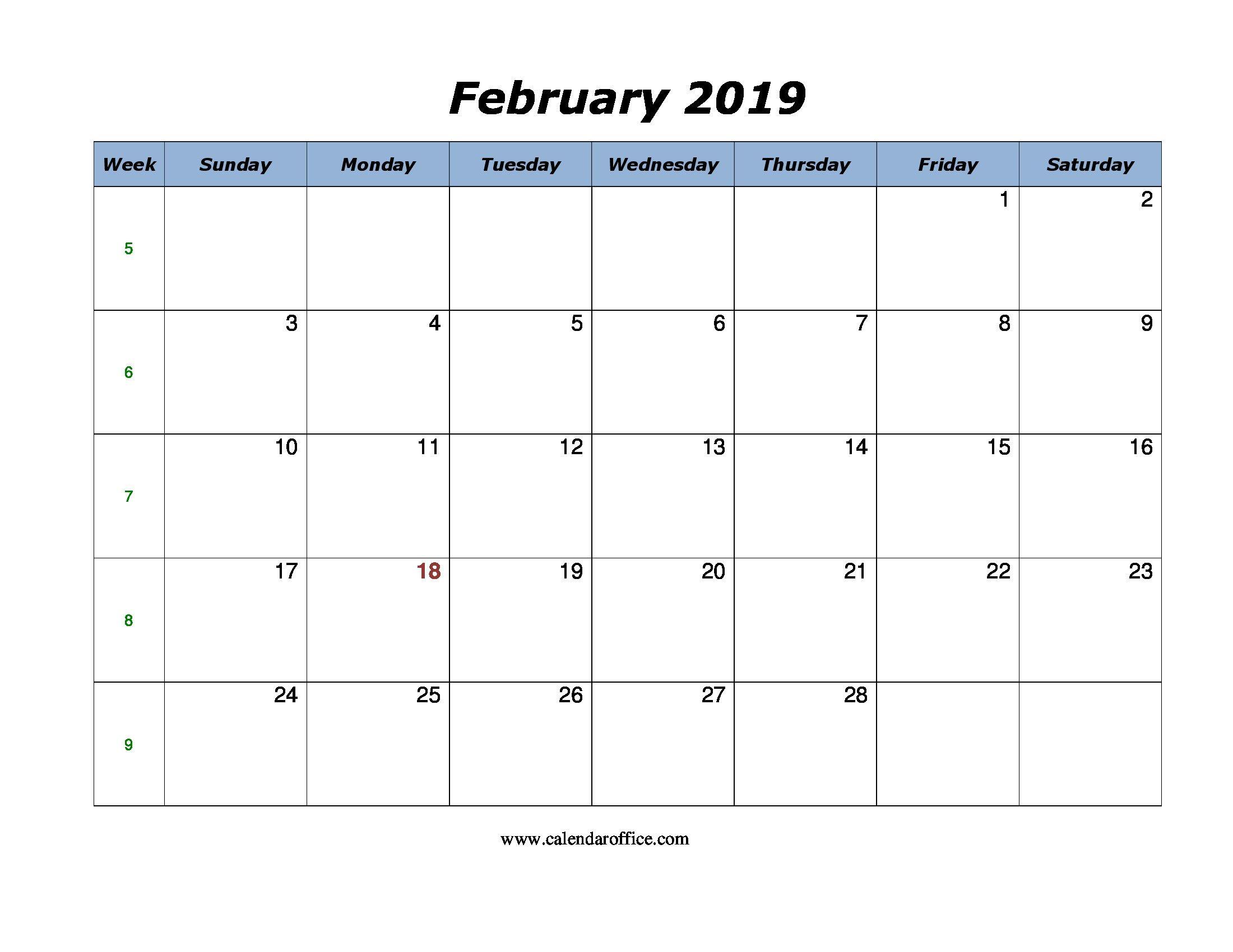 February 2019 Calendar Template Excel February February2019