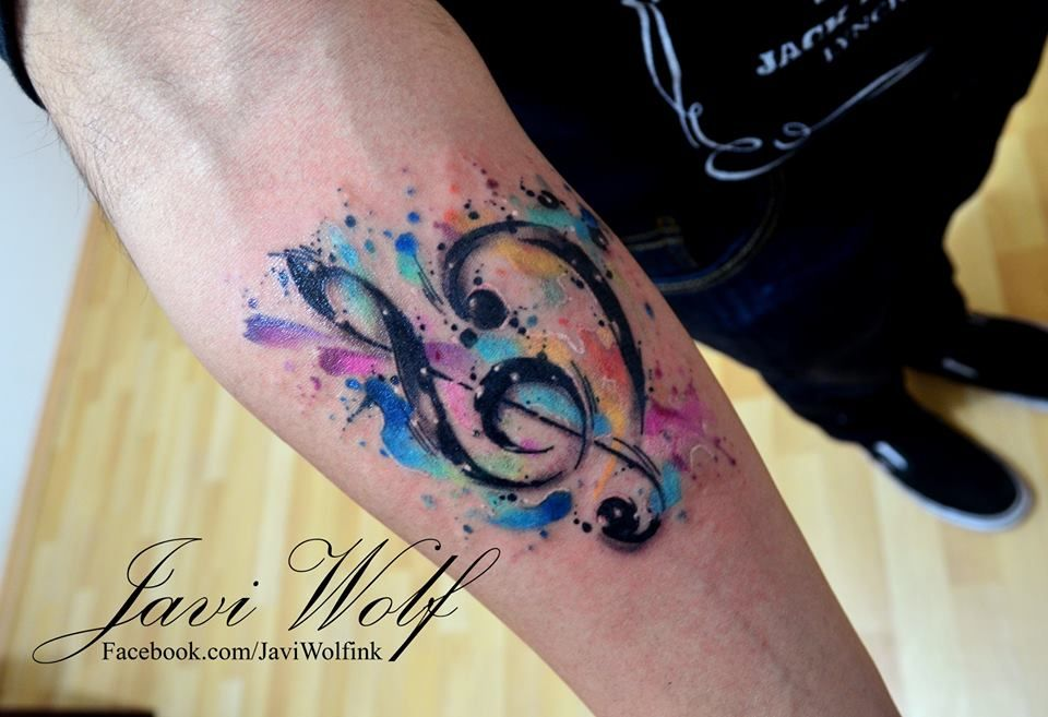 Watercolor Musical Notes Tattoos For Guys Sleeve Tattoos