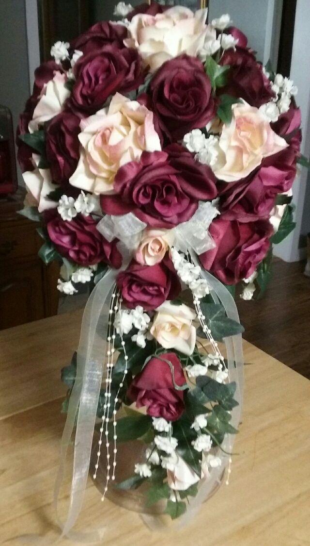 Cascade Silk Wedding Bouquet with Open Burgundy and Cream