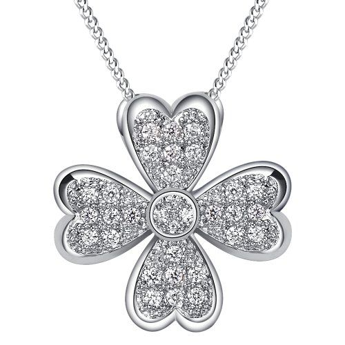 Platinum-plated Cubic Zirconia Cluster Four Leaf Clover Pendant Necklace with 18 Inches Chain - Fashion Jewelry