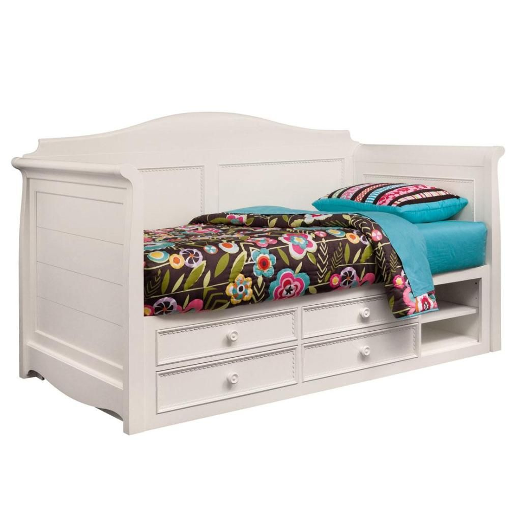 Girls daybeds with storage - Daybeds With Storage Hannah White Twin Daybed With Storage Daybeds