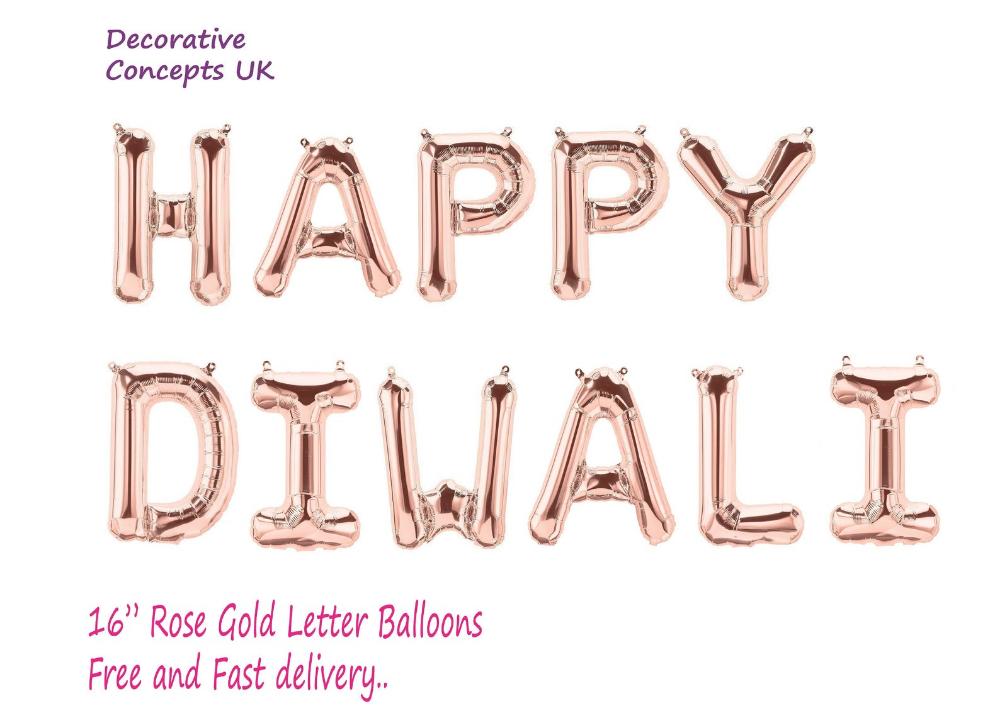 "16"" Diwali Rose Gold Blue Party & Decoration Celebration"