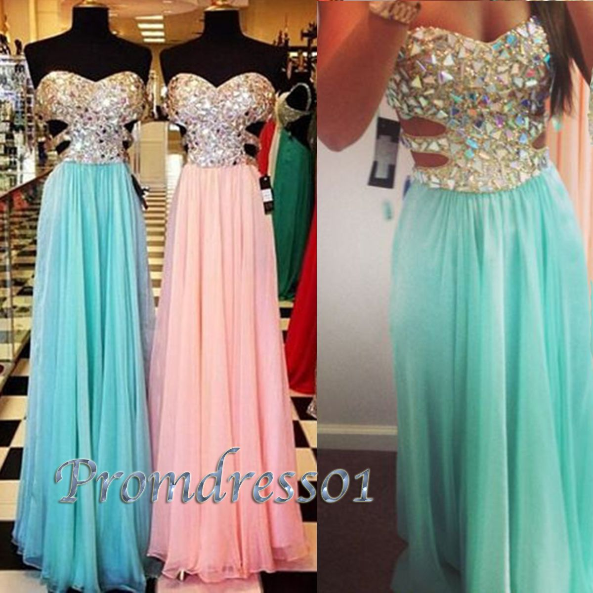 A Line Sweetheart Blue Long Chiffon | Long prom dresses, A line ...
