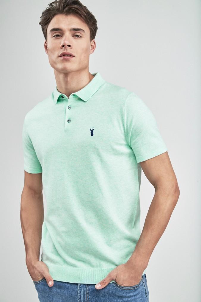 Mens Next Aqua Short Sleeve Knitted Pastel Polo Green