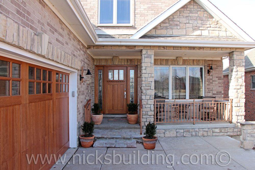 Home Remodel A Wood Front Door With Matching Garage Doors Amps