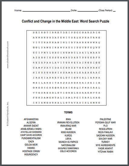 Conflict and Change in the Middle East Word Search Puzzle