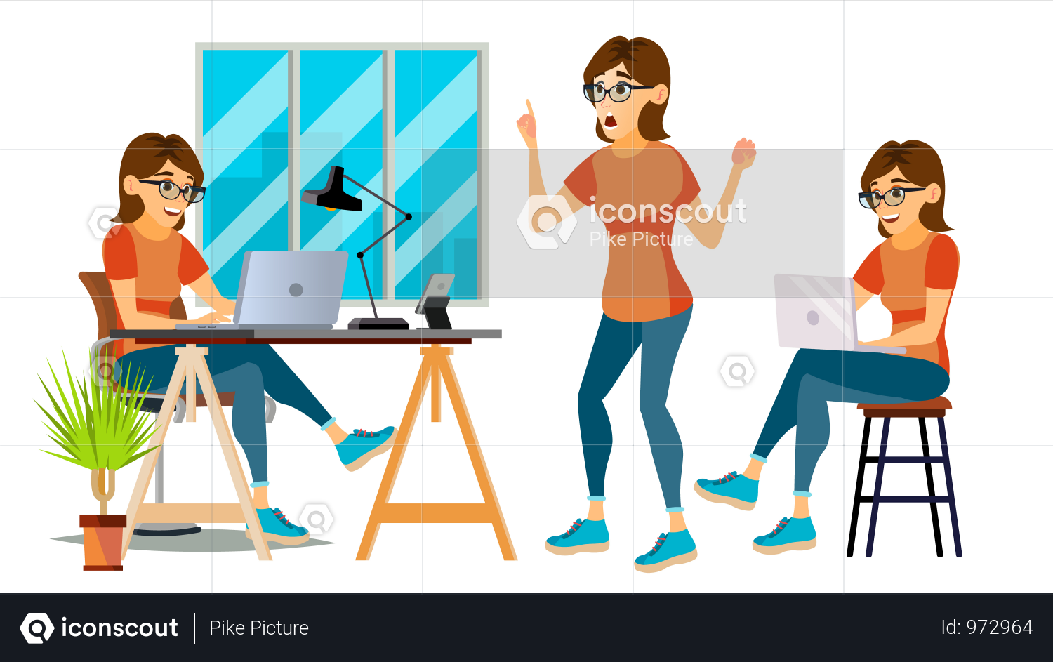 Premium Business Woman Working In Office Illustration Download In Png Vector Format Business Women Business Illustration Illustration