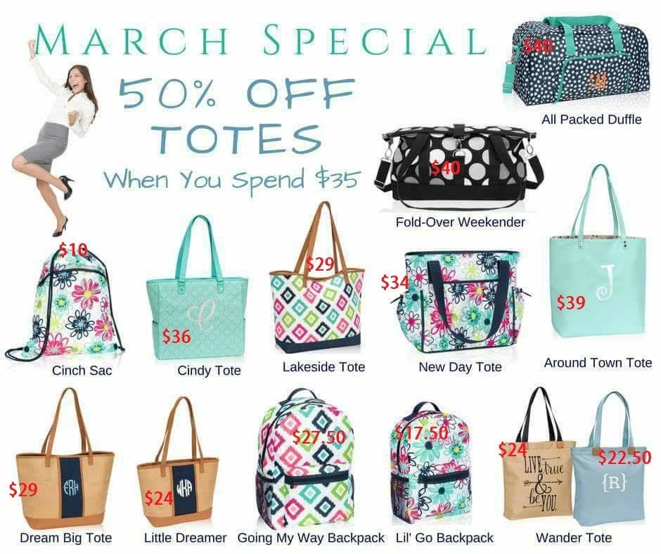 Spring And Summer 2017 Thirty One Gifts March Specials Totes Bags