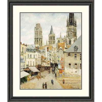 Global Gallery 'Rue De L'Epicerie in Rouen on a Gray Morning' by Camille Pissarro Framed Painting Print Size: