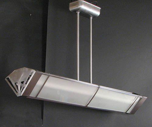 Vintage Industrial Fluorescent Light: Art Deco Fluorescent Ceiling Light