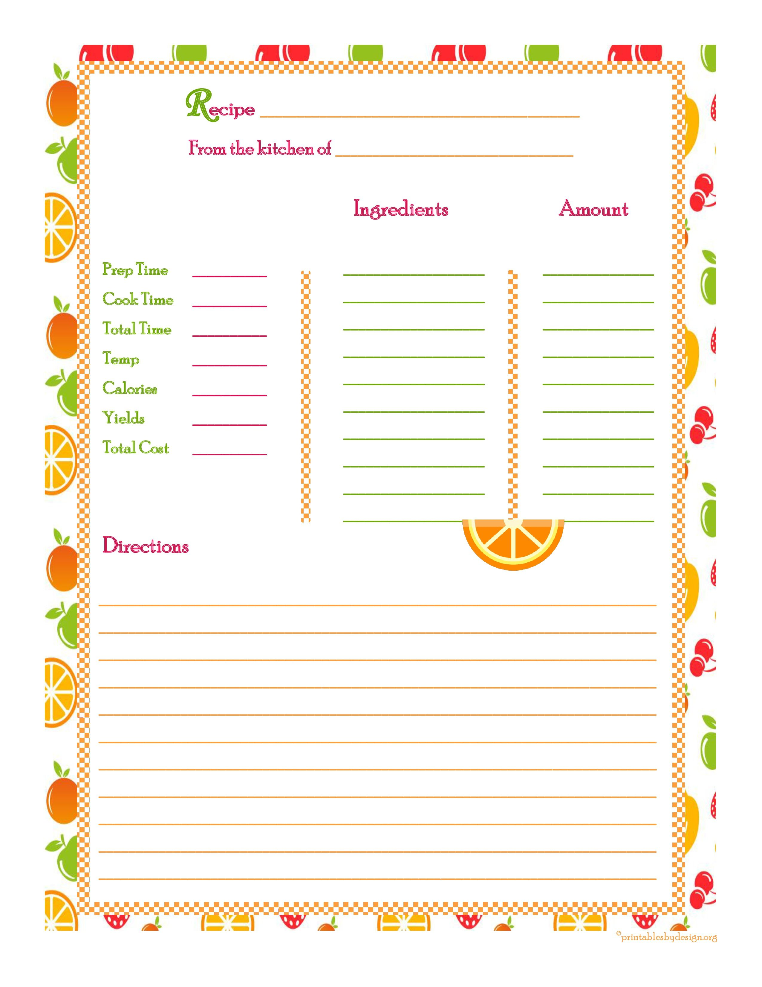 Recipe Book Template Apple Pages