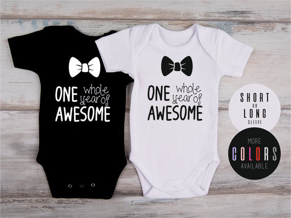 First Birthday Boy Outfit ONE Whole Year Of AWESOME Bodysuit One Old 1st Birthd