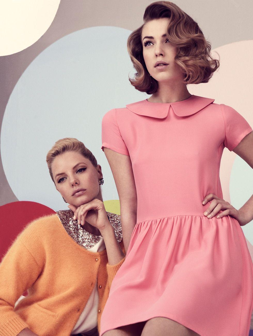 50's fashion, pink, pink dress, 1950's, Greta, Damernas Värld, hair style, vintage, vintage hair style