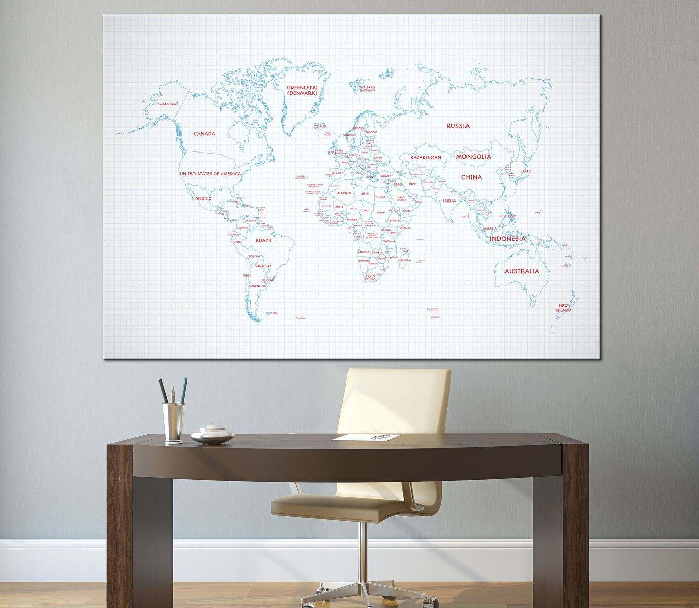 Large detailed blue world map wall art with countries names and large blue world map wall art with countries names and borders canvas printdetailed world gumiabroncs Choice Image