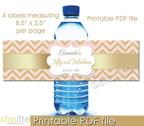Fifty and Fabulous Birthday Party water bottle labels by starwedd ...