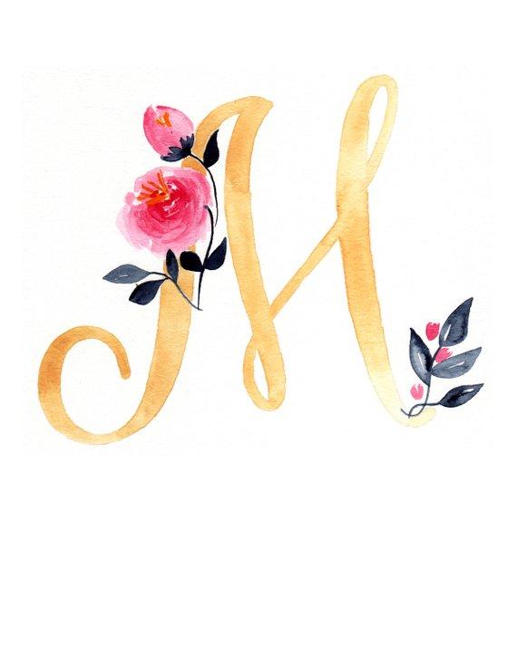 Nursery Decor Script Letter With Custom Name Letter M Etsy Monogram Wallpaper Flower Background Iphone Floral Letters