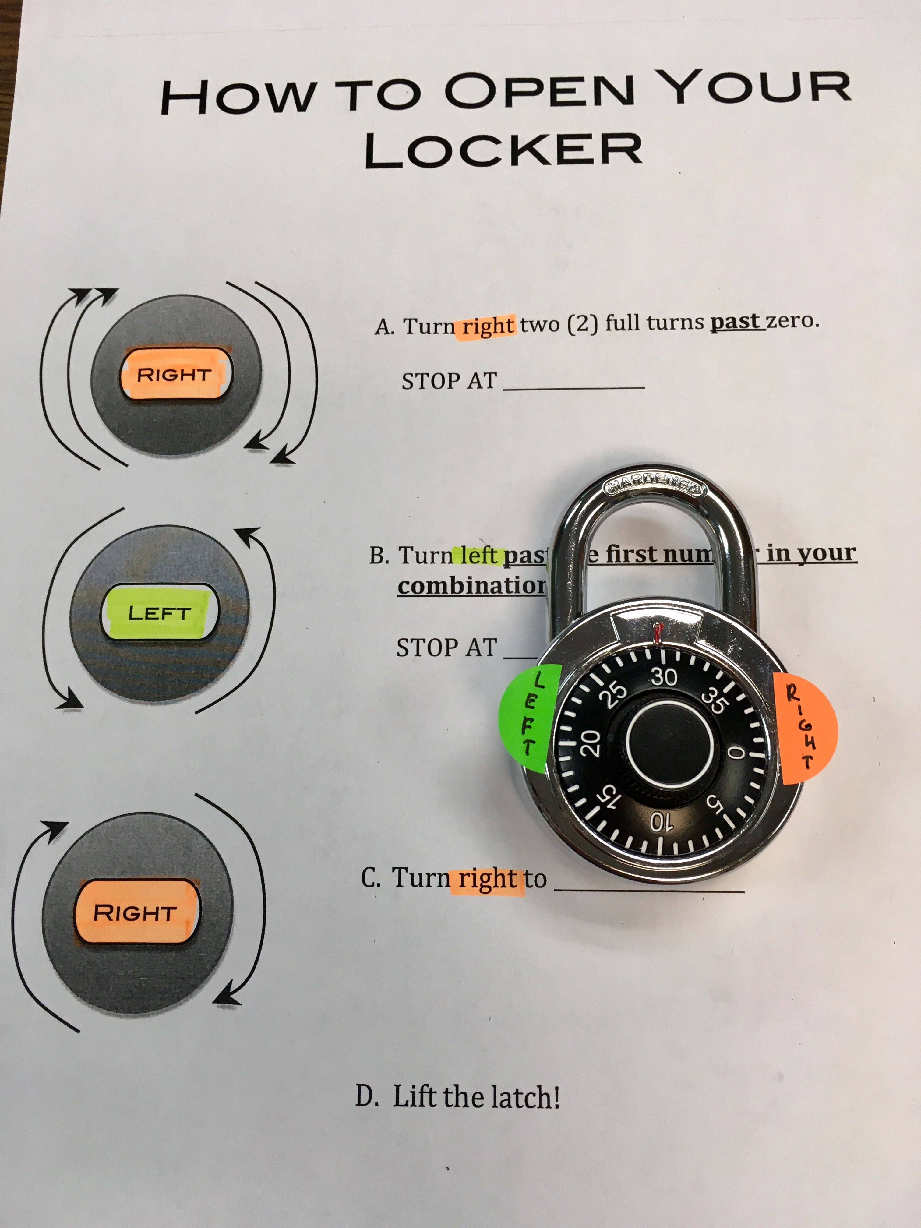 Teaching Ell 5th Graders How To Open A Combination Lock Color Coded Right Side And Left Side To Give Them A Better Teaching Ell School Locks School Transition