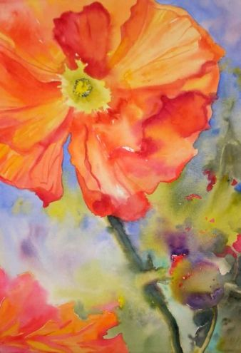 Poppy Portrait Happy Veterans Day Original Art Painting By Kay
