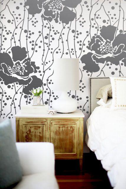Wall Stencil Large Flower Pattern Polka Dot Room Decor