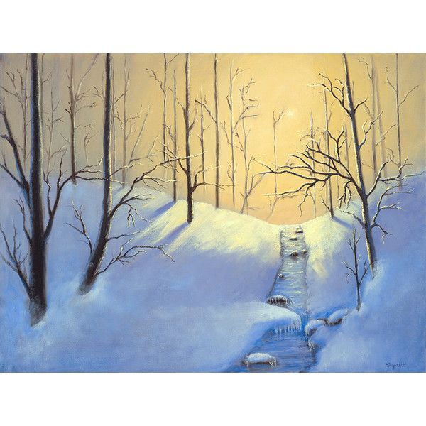 Winter Landscape Giclee On Canvas Snow Scene Morning Snow Forest 250 Liked On Polyvore Fe Winter Landscape Oil Painting Landscape Landscape Wall Art