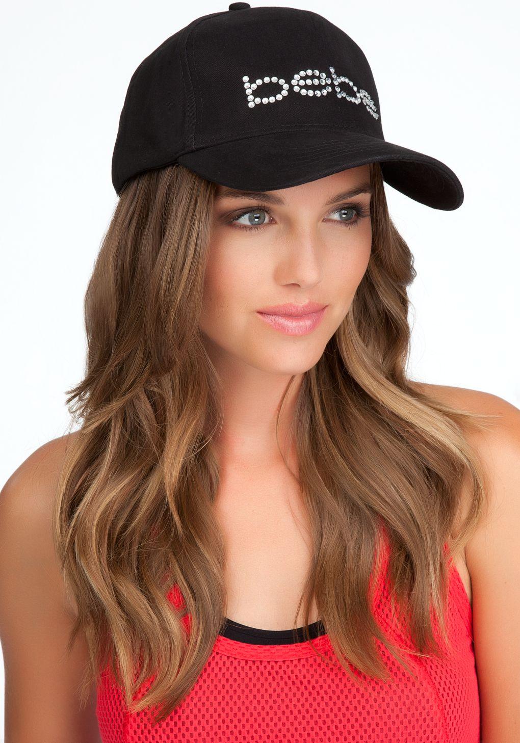 bb60dd025 Bebe Logo Rhinestone Baseball Cap in Black | Lyst | Accessories ...