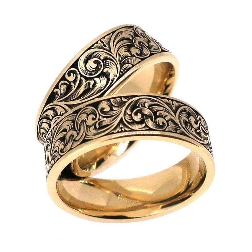 Matching Scroll Wedding Rings Hand Engraved Wedding Band Wedding Band Engraving Scroll Wedding Ring