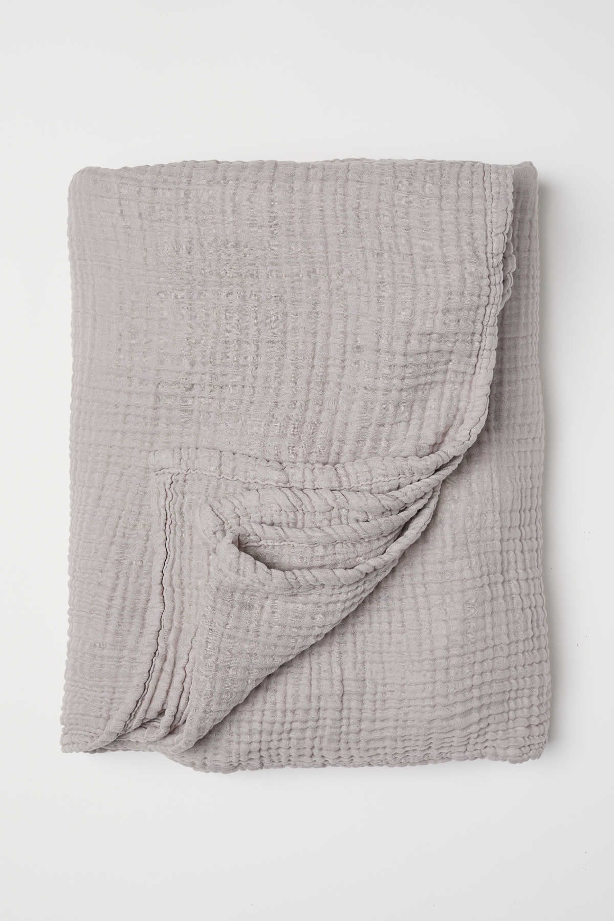 Light Taupe Bedspread In Soft Cotton Muslin