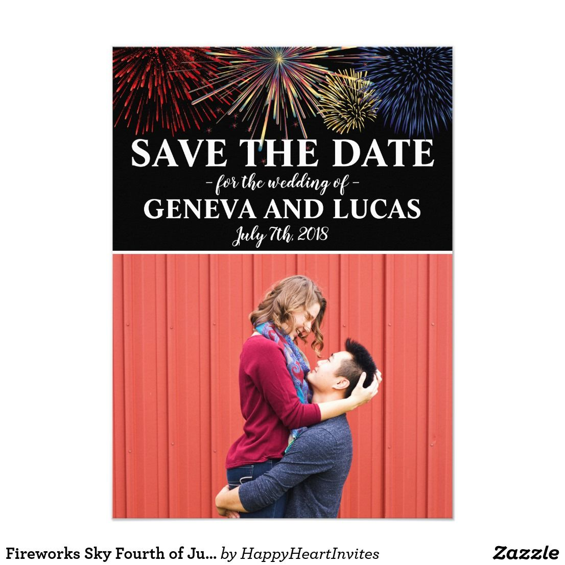 Fireworks Sky Fourth of July Wedding Save The Date #fourthofjuly ...
