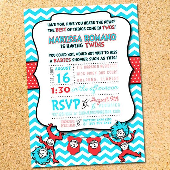 Image Result For Dr Seuss Twin Baby Shower Invitations