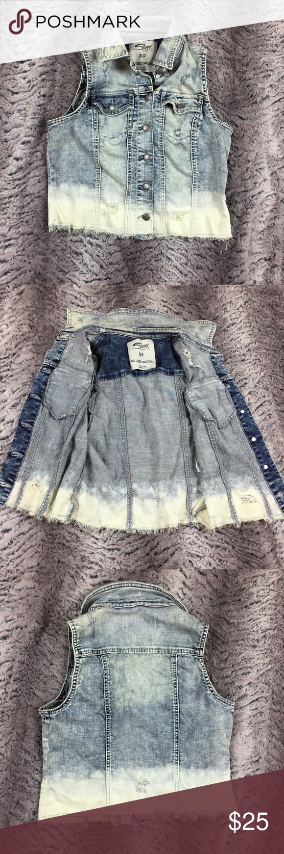 Silver Jeans Denim Vest Ombre Women's Size S/P For grabs is a Silver Jeans Denim Ombré Jacket women's size S\P. The item has been inspected for any imperfections and is in excellent preowned condition. Please see pictures for measurements and exact condition. Silver Jeans Jackets & Coats Vests