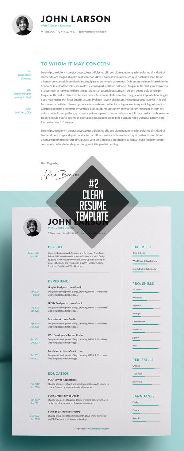 Clean And Minimal Resume Templates    Minimal Cv Resume