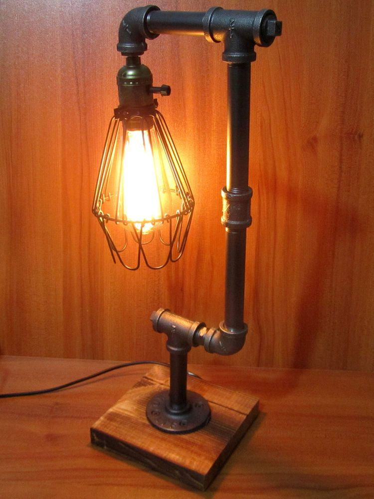 Vintage Industrial Retro Adjustable Iron Pipe Desk Table Lamp Light UK PLUG  #Unbranded - Vintage Industrial Retro Urban Rustic Metal Pipe Desk Table Lamp