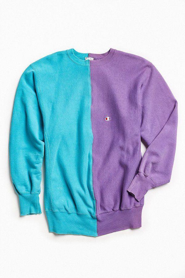eaa718fda6f8 Urban Outfitters Vintage Vintage Champion Turquoise Purple Split-Seam Crew  Neck Sweatshirt