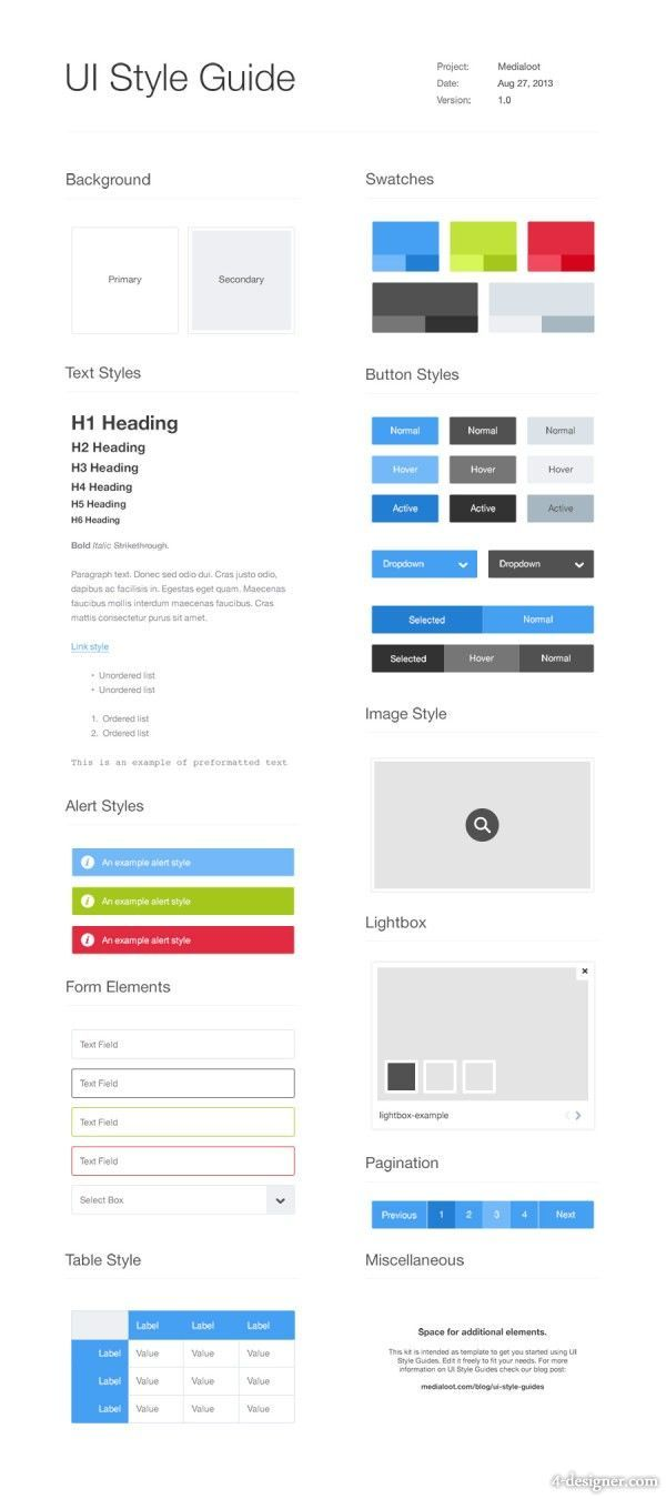 UI Style Guide template   UI Styleguide   Pinterest   Template, Ui ...