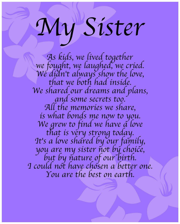 Personalised My Sister Poem Birthday Anniversay Leaving Christmas Gift Present 786071610194 | eBay