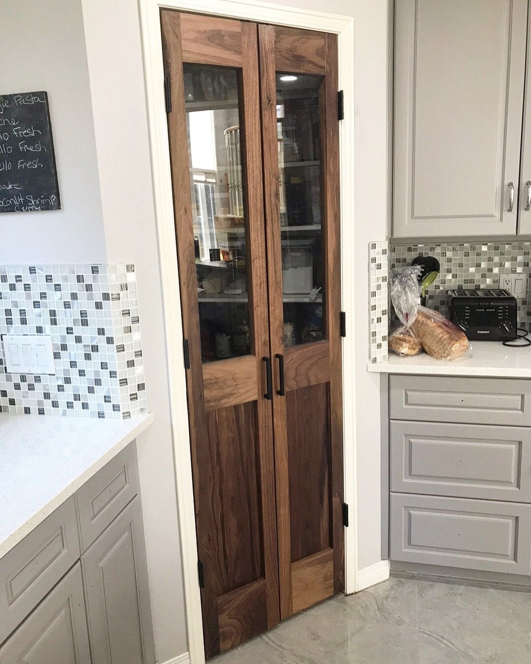 His Her Home Black Walnut Double Pantry Doors Pantry Design Kitchen Pantry Doors Kitchen Pantry Design