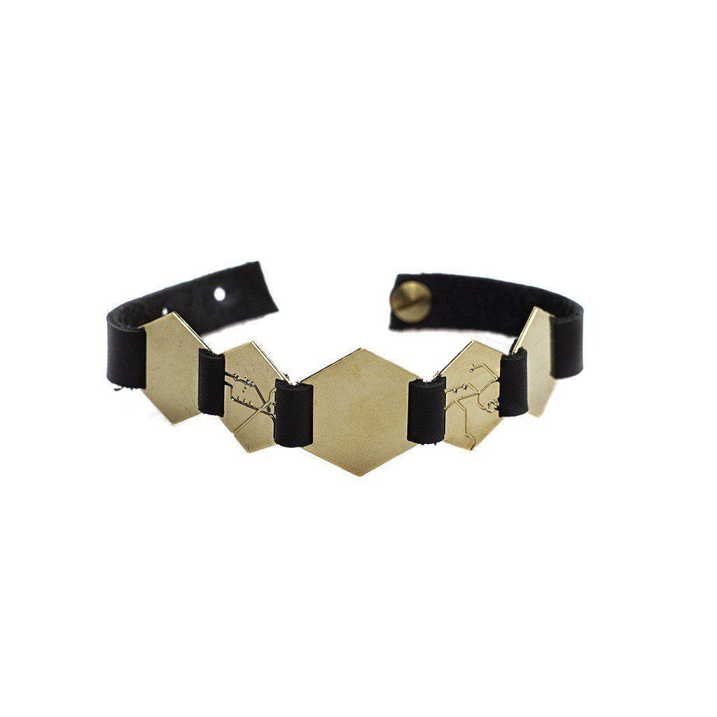 Buy hexagons lether brecelet gold at pop up fashion sale for
