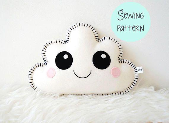 Cloud Pillow Pattern, cloud pillow PDF, kawaii sewing pattern, cute ...