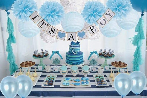 Boy S Baby Shower Decorations Set It S A Boy Banner Etsy Baby Boy Shower Party Baby Shower Decorations For Boys Baby Shower Decorations