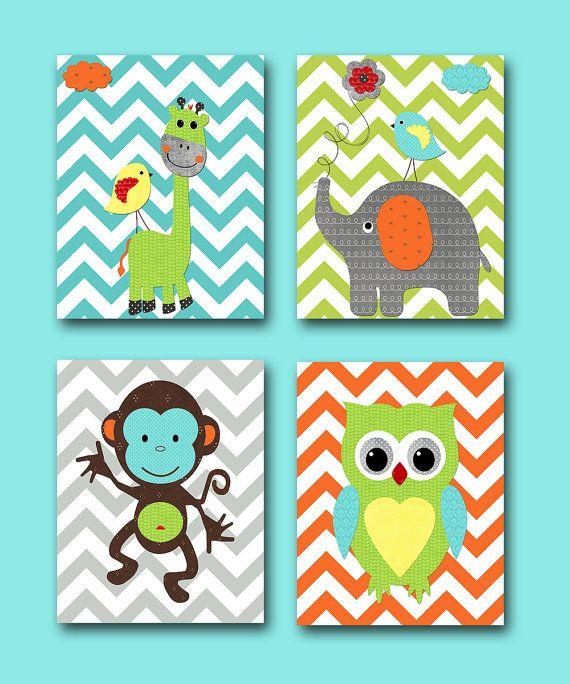 Monkey Nursery Owl Giraffe Elephant Baby Boy Art Print Children Wall