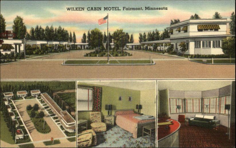 Wilken Cabin Motel Fairmont Minnesota Postcard