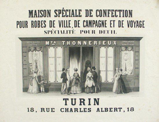 Manifesto pubblicitario del negozio di moda di Margherita Thonnerieux, in via Carlo Alberto. Litografia F.lli Doyen, circa 1870