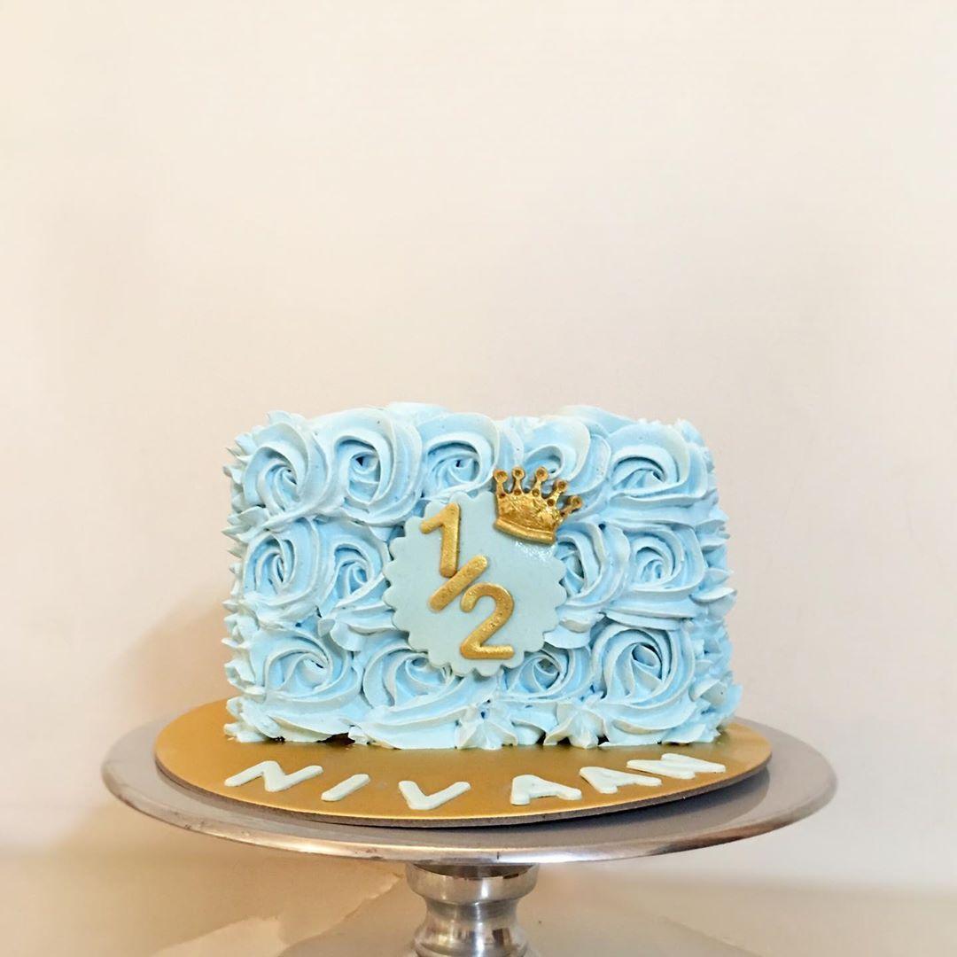 Half Birthday Cake For Cute Little Baby Boy 6monthcake