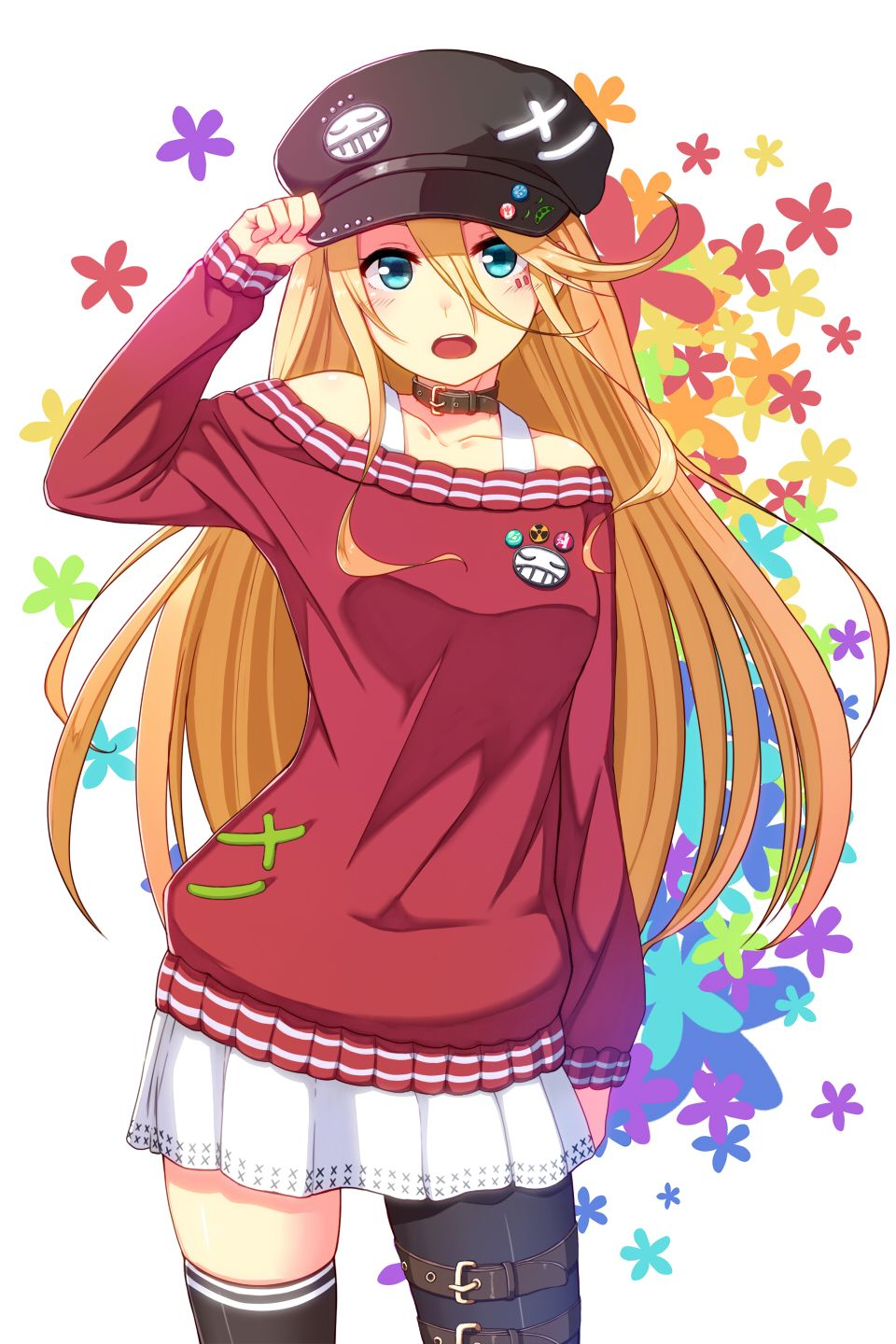 Anime Girl with orange/blonde hair, blue eyes, red sleeved shirt, white  skirt, choker, flowers, pins and a hat