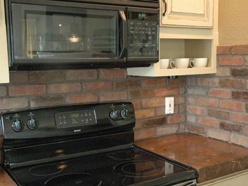 Ideen Für Die Küche · Rückwand Verkleiden · Ziegelwände · Brick Backsplash In Kitchen  (500×375)