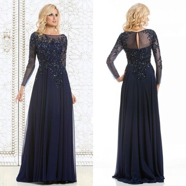 2015 Elegant Long Sleeves Mother of the Bride Groom Dresses Plus Size Sheer  Scoop A-line Floor Length Chiffon Mom Dress Evening Gowns Beaded d97c541f977f