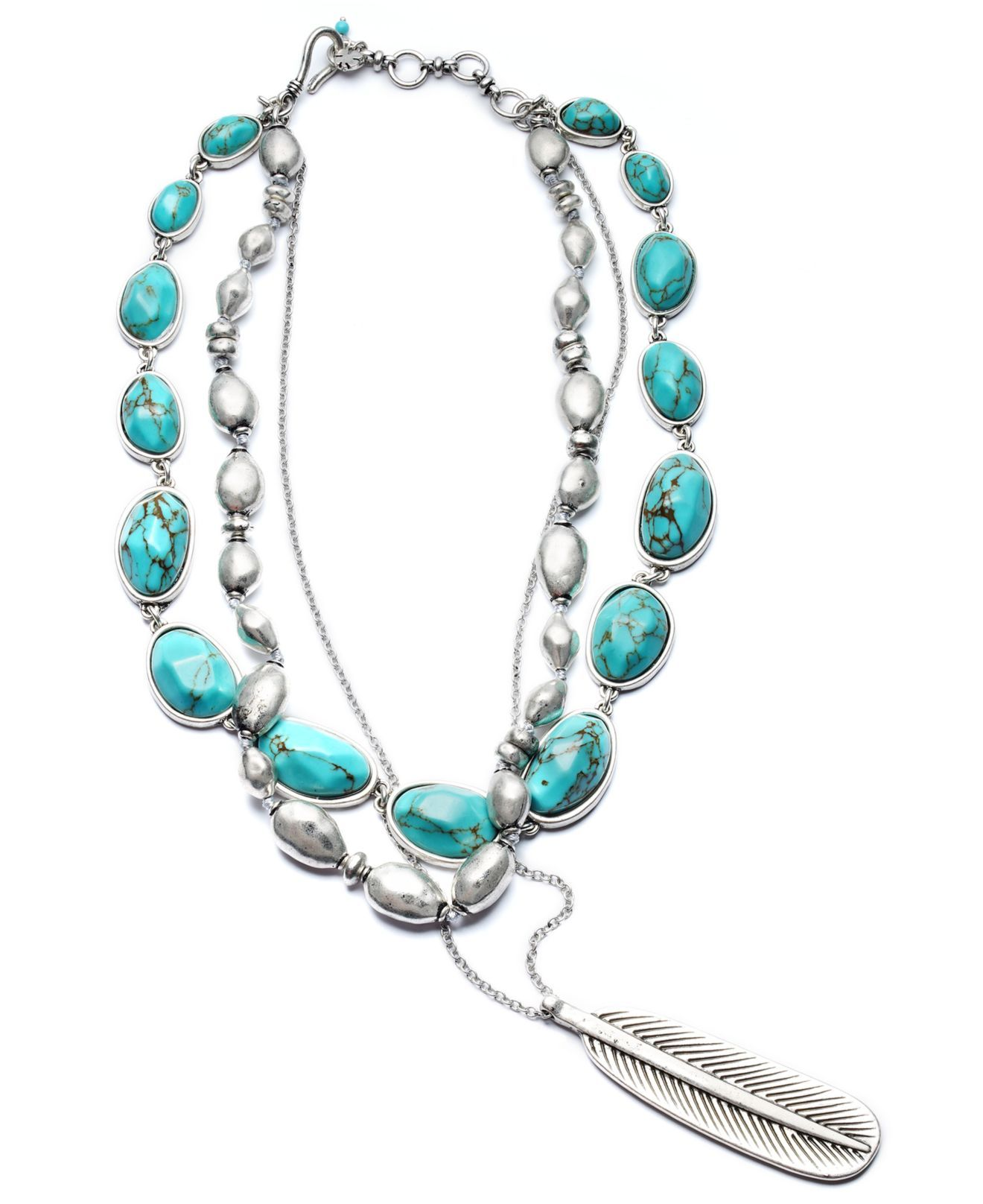 online shop best loved newest collection Lucky Brand Necklace, Semi Precious Turquoise Feather Pendant ...